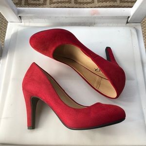 New woman's red pump
